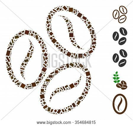 Dotted Mosaic Based On Cacao Beans. Mosaic Vector Cacao Beans Is Created With Randomized Rectangular