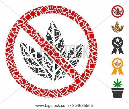 Dotted Mosaic Based On No Tobacco. Mosaic Vector No Tobacco Is Formed With Random Rectangle Elements