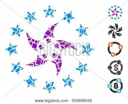 Dotted Mosaic Based On Europeans Collaboration. Mosaic Vector Europeans Collaboration Is Formed With