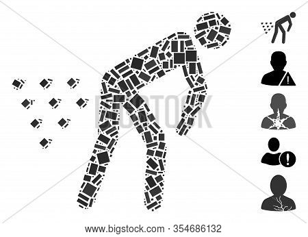 Dotted Mosaic Based On Man Diarrhea. Mosaic Vector Man Diarrhea Is Created With Scattered Rectangula