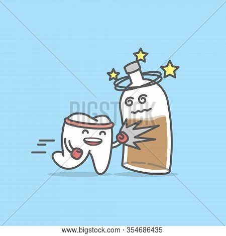 Dental Cartoon Of A Tooth Hit A Liqueur Bottle Illustration Cartoon Character Vector Design On Blue