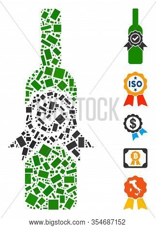 Dot Mosaic Based On Finest Wine. Mosaic Vector Finest Wine Is Formed With Random Rectangle Items. Bo