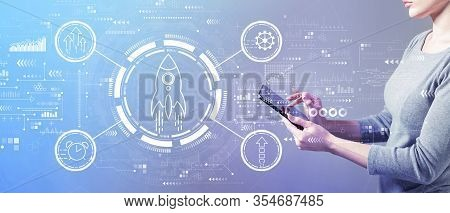 Rapid Growth Concept With Business Woman Using A Tablet Computer