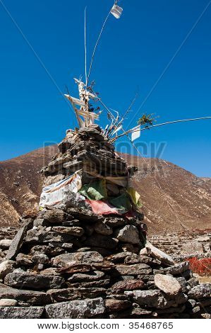 Buddhist Stupe Or Chorten In Himalayas