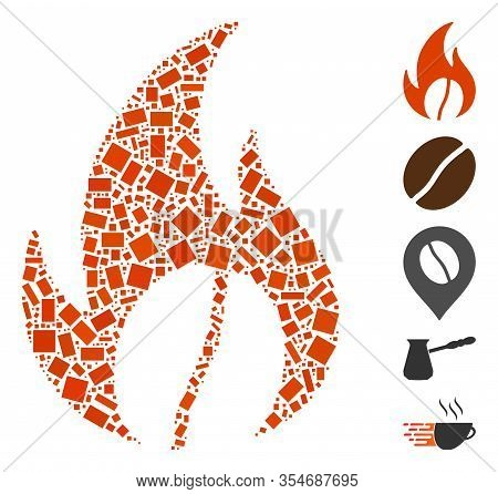 Dotted Mosaic Based On Roasted Coffee. Mosaic Vector Roasted Coffee Is Formed With Scattered Rectang