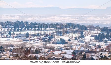 Colorado Living. Centennial, Colorado - Denver Metro Area Residential Winter Panorama With The View