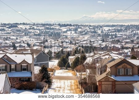 Colorado Living. Centennial, Colorado - Denver Metro Area Residential Winter Panorama With The View