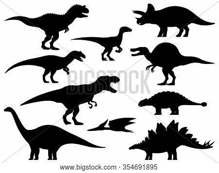 Dinosaur Silhouette. Icon Jurassic Monsters T-rex Stegosaurus Triceratops Pterodactyl Spinosaurus Ap