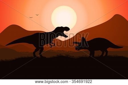 Dinosaur Battle Silhouette T-rex Tyrannosaurus Vs Triceratops. Vector Illustration Of A Dinosaur Bat