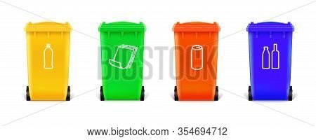 Realistic Multi Colored Trash Cans Isolated On White Background. Trash Cans With Icons For Sorting T
