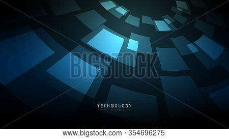 Black Blue Circle Abstract Technology Vector Background,virtual Reality Cyberspace Copy Space Backgr
