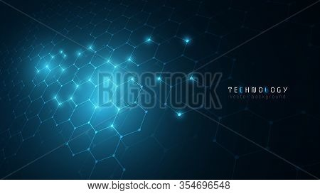 Virtual Reality Blue Connection Hexagon Technology Cyberspace Abstract Vector Background,modern Inno