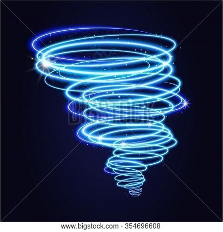 Blue Tornado, Swirling Storm Cone Of Stardust Sparkles On Dark Background. Blue Spiral Hurricane Wit