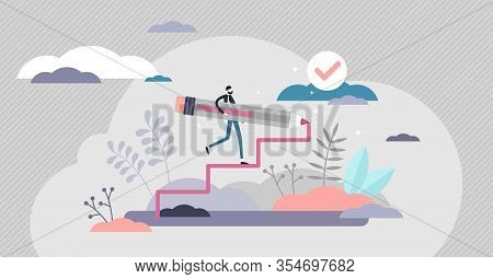 Creating Opportunity Abstract Concept, Flat Tiny Person Vector Illustration. Personal Goals And Comp