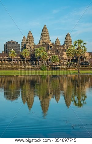 The Beautiful Reflection Of Angkor Wat The Massive And Largest Religion Monument In The World. Locat