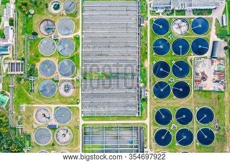 Drone Image Of Modern Wastewater Treatment Plant. Industrial Water Treatment