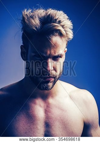 Closeup Man Portrait. Man Face. Handsome Bearded Man - Face Half On Grey Background. Sad And Stress
