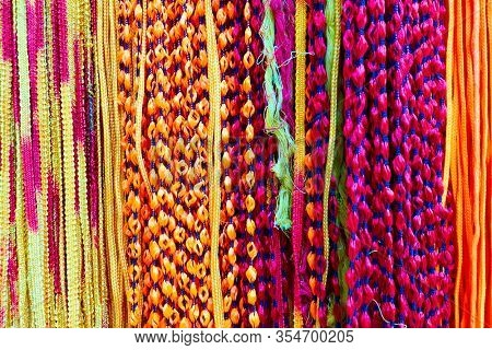Indian colorful laces closeup -  multicoloured abstract background