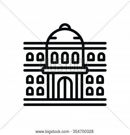 Black Line Icon For University Governmental Architecture Institute College Students Education Learni