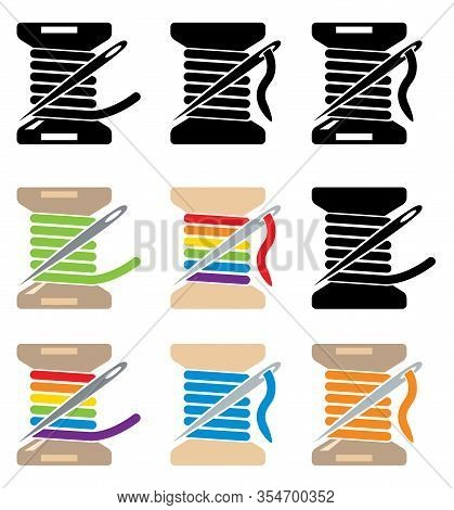 Vector Spool Icons With Sewing Needle And Thread Isolated On White Background. Needlework Craft Symb