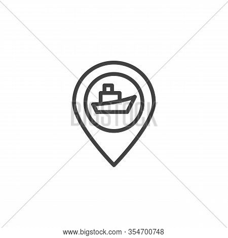 Cruise Ship Travel Line Icon. Seaport Location Pin Linear Style Sign For Mobile Concept And Web Desi