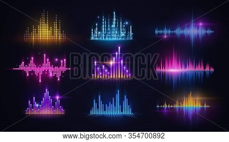 Music Equalizer Neon Sound Waves, Audio Digital Technology Vector Design. Sound Frequency Spectrum A