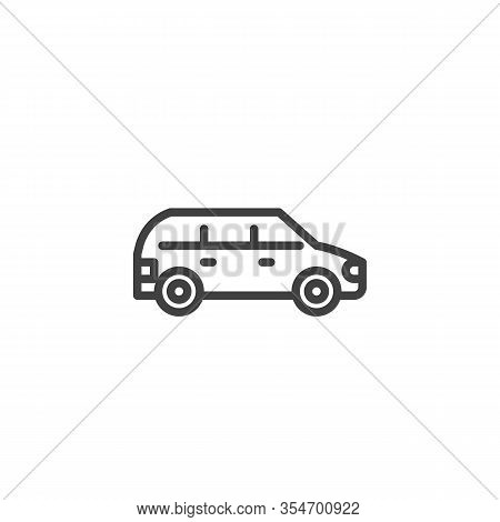 Suv Car Line Icon. Linear Style Sign For Mobile Concept And Web Design. Minivan Car Outline Vector I