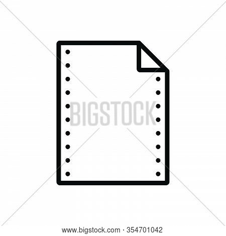 Black Line Icon For Paper Note Letter Form Paper-work Pitch Banknote Concept Document Message Page