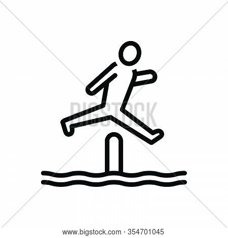Black Line Icon For Jump Bounce Obstacle-race Person Youth Playful Competitor