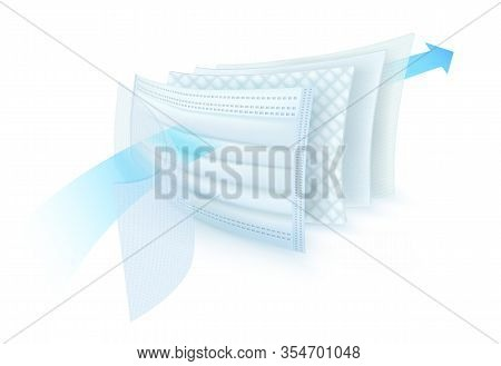 5 Layer Filter Material For Protective Surgical Mask First, Carbon Sheet. The Second Layer Is Thick