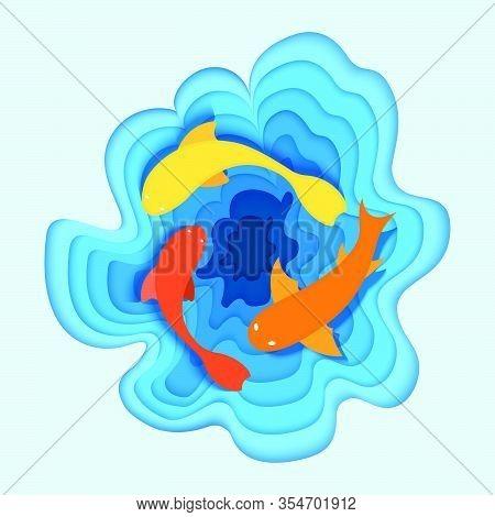 Tropical Fish Sea, Flat Ocean Minnow, Concept Cutting Paper Vector Illustration. Saltwater Fish Swim