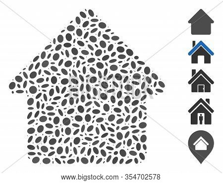 Dotted Mosaic Based On Cabin. Mosaic Vector Cabin Is Formed With Randomized Ellipse Items. Bonus Ico