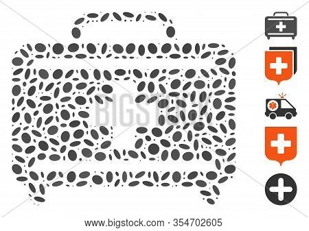 Dot Mosaic Based On Medical Briefcase. Mosaic Vector Medical Briefcase Is Designed With Random Ellip