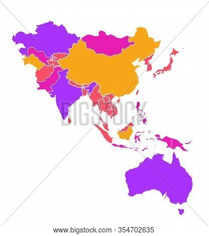 Colored Detailed Vector Map Of Asia Pacific Region