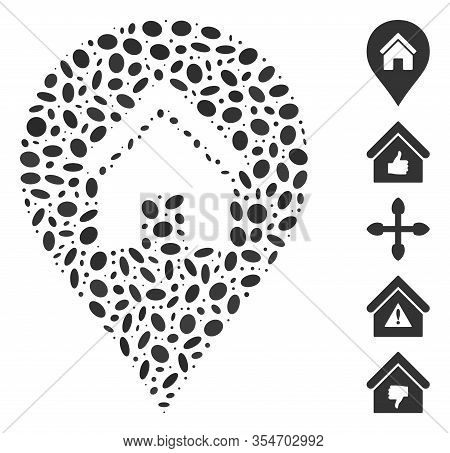 Dot Mosaic Based On Realty Map Marker. Mosaic Vector Realty Map Marker Is Designed With Scattered El
