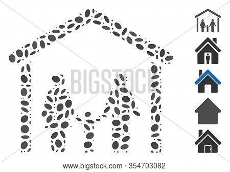 Dotted Mosaic Based On Family Cabin. Mosaic Vector Family Cabin Is Created With Randomized Ellipse E