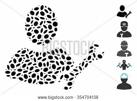 Dotted Mosaic Based On Serviceman. Mosaic Vector Serviceman Is Formed With Random Elliptic Dots. Bon