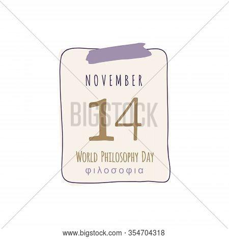 Calendar Sheet. With Shutter World Philosophy Day. November 14. Calendar Sheet Illustration On White