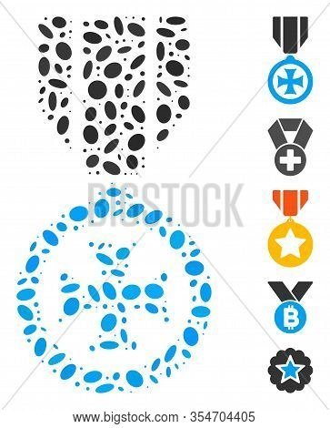 Dot Mosaic Based On Maltese Cross. Mosaic Vector Maltese Cross Is Designed With Random Oval Spots. B
