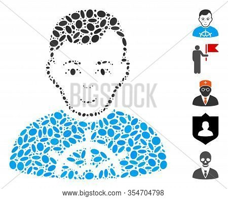 Dot Mosaic Based On Captain. Mosaic Vector Captain Is Formed With Randomized Oval Spots. Bonus Icons