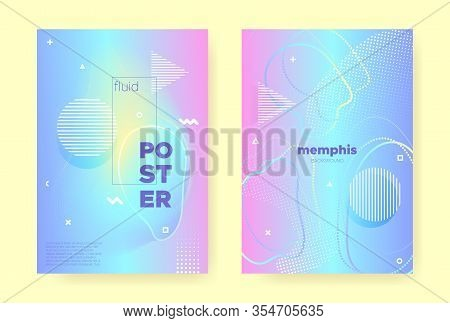 Rainbow Pastel Cover. Abstract Memphis Illustration. Wave Banner. Music Brochure. Pink Pastel Shape.