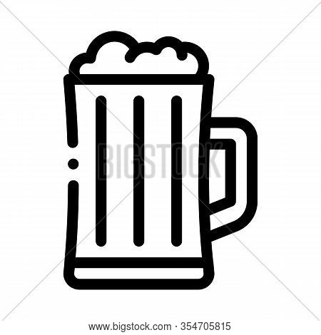 Foamy Beer Cup Icon Vector. Outline Foamy Beer Cup Sign. Isolated Contour Symbol Illustration