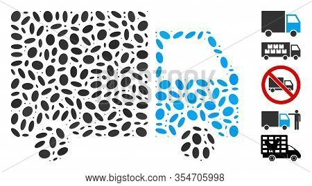 Dotted Mosaic Based On Shipment Van. Mosaic Vector Shipment Van Is Created With Random Ellipse Eleme