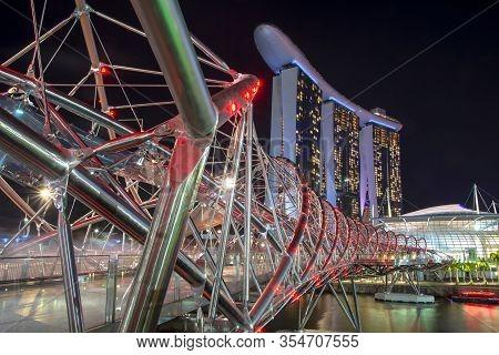 Singapore, January 16, 2020, Helix Bridge, Is A Pedestrian Bridge Linking Marina Center With Marina