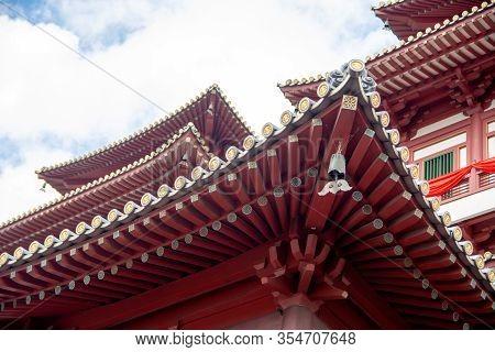 Singapore, January 16, 2020, Rool Architecture Of Buddha Relic Temple With Singapore Urban City Skyl