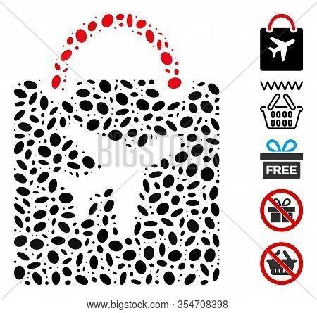 Dot Mosaic Based On Duty Free Bag. Mosaic Vector Duty Free Bag Is Designed With Random Ellipse Spots