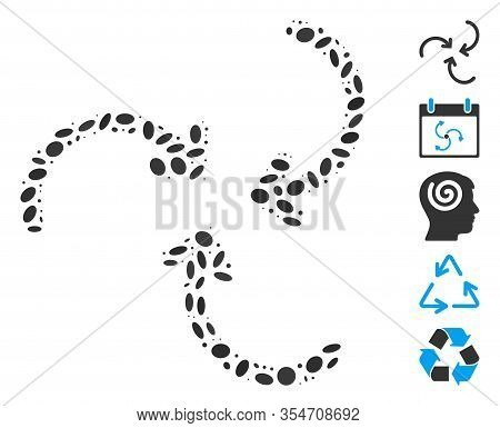 Dot Mosaic Based On Whirlpool Rotation Arrows. Mosaic Vector Whirlpool Rotation Arrows Is Formed Wit