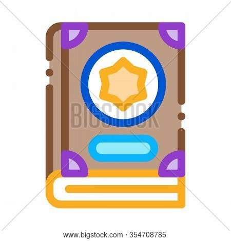 Wizard Book Icon Vector. Outline Wizard Book Sign. Color Isolated Contour Symbol Illustration