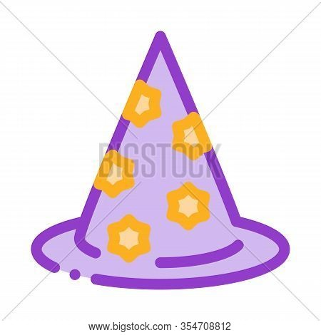 Magician Hat Icon Vector. Outline Magician Hat Sign. Color Isolated Contour Symbol Illustration