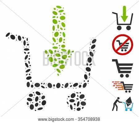 Dot Mosaic Based On Add To Basket. Mosaic Vector Add To Basket Is Formed With Scattered Oval Items.